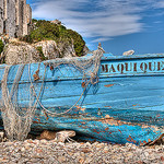 Vieille barque bleue sur l'Ile Sainte-Margherite. by lucbus - Cannes 06400 Alpes-Maritimes Provence France
