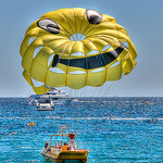 "Parachute ascensionnel ""smiley"" by lucbus - Cannes 06400 Alpes-Maritimes Provence France"