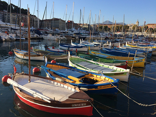 Beautiful colored French fishing boats by Sander Pot