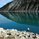 Fishing in the Lac de Castillon by Sokleine - St. Andre les Alpes 04170 Alpes-de-Haute-Provence Provence France