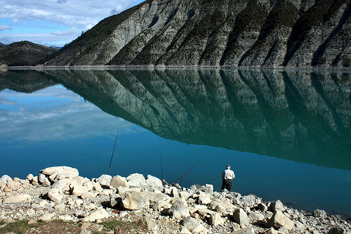 Fishing in the Lac de Castillon by Sokleine