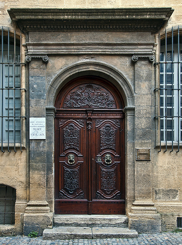 Old carved door in aix en provence