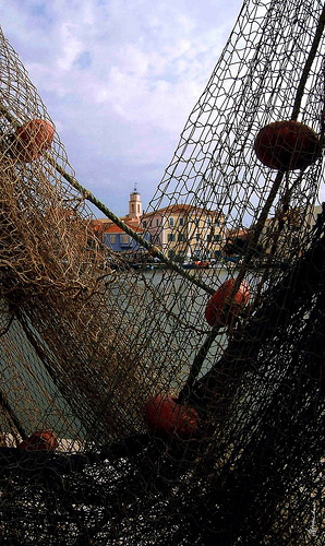 Filets de pêche à Martigues et son clocher. by alain bordeau 2