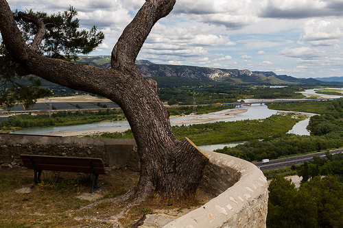Bench with a beautiful view over the Rhone by Pasqual Demmenie