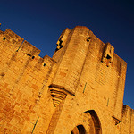 Aigues-Mortes, soleil couchant sur les remparts by  - Aigues-Mortes 30220 Gard Provence France