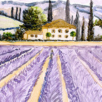 Aquarelle : paysage de Provence by Nadia Abduch -   provence Provence France