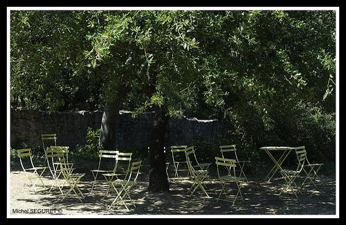 Chaises à l'ombre à l'Abbaye de Thoronet par michel.seguret