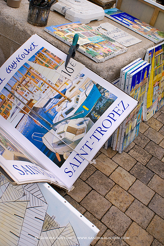 Prints for sale around the harbor - Saint-Tropez by Belles Images by Sandra A.