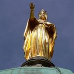 Statue dorée en haut de la Cathédrale Sainte-Anne d'Apt by Jean NICOLET - Apt 84400 Vaucluse Provence France