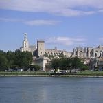 Avignon vue depuis l'autre rive : Notre Dame des Doms et Le Palais des Papes by Hélène_D - Avignon 84000 Vaucluse Provence France
