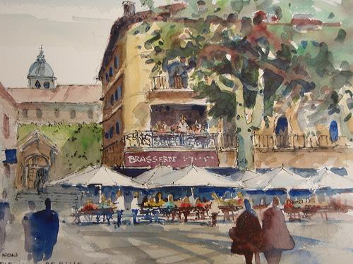 Brasserie - Aquarelle à Avignon par skschang