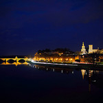 Vue de nuit sur Avignon - Heure bleue avignonaise by  - Avignon 84000 Vaucluse Provence France