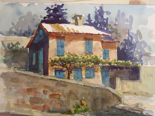 Aquarelle de provence monieux monieux vaucluse we for Peinture du liberon