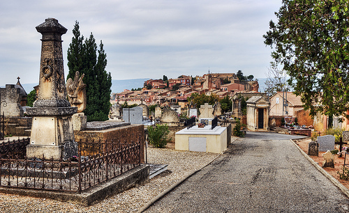 View of Roussillon from the cemetery by philhaber