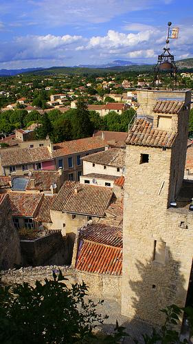 Bell tower at Malaucene, France by jamezwicko