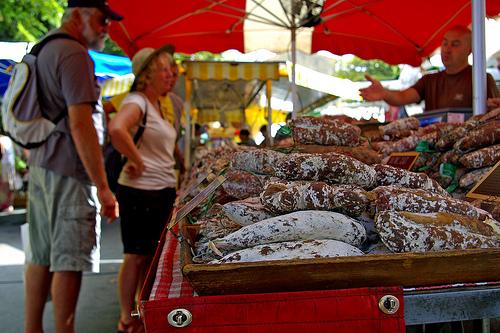 Marché : Saucisson at Bonnieux Market by patrickd80