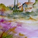 Aquarelle - Champ de lavandes / Lavender field by veroniquepiaser-moyen -   provence Provence France
