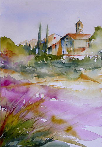 Aquarelle - Champ de lavandes / Lavender field by veroniquepiaser-moyen