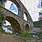 Pont du Gard en fish eye par  - Vers-Pont-du-Gard 30210 Gard Provence France