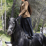 Woman standing on horse by  - La Bouilladisse 13720 Bouches-du-Rhône Provence France
